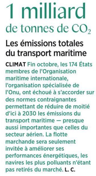 E7 pollutiion transport maritime 1mm t